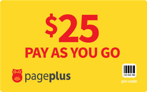 PagePlus  Prepaid $25  416 Minutes Refill Top-Up Prepaid Card ,PIN / RECHARGE