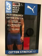 NIB Men's Puma Boxer Briefs Performance Cotton Stretch Red Gray Black Size Large