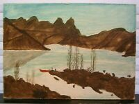 Original Primitive Landscape Painting Tepee Canoe Signed Dyer