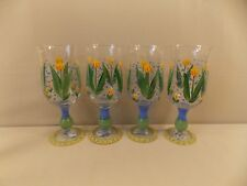 4 Handpainted Ice Tea Goblets by Annie's Treasures NEW