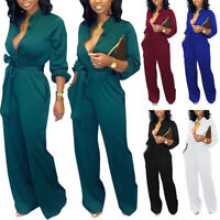 Women Jumpsuit Long Sleeve Button Romper Casual Long Trouser Bandage Pants Solid