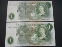 1967 J S FFORDE PAIR OF ONE POUND NOTES DUGGLEBY B305.  UNCIRCULATED  CONDITION.