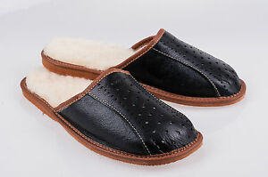 Mens 100% leather warmed slippers hand made size:6.5, 7.5, 8, 9, 9.5, 10.5, 11