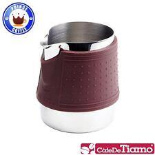 Tiamo 300ml Stainless Steel Milk Pitcher Latte Art with Silicone Band (Brown)