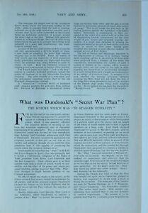 1915 WW1 ARTICLE & PICS ARTICLE DUNDONALDS SECRET WAR PLAN