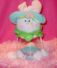 WHITE BUNNY CANDY JAR ** PINK NOSE ** BLUE POLKA DOT HAT * 12 IN TALL** SO CUTE
