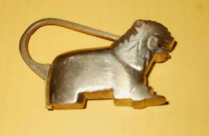 Nepal Brass Lion Lock with tail as loop rare Unique