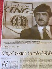 1943-2014 PAT QUINN OBITUARY LOS ANGELES KINGS COACH TEAM CANADA OLYMPICS