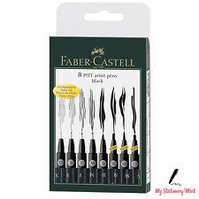 Faber Castell Pitt Pens Black Drawing Artist Fineliner Wallet Set of 8 Pens