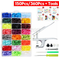 150Pcs/360Pcs Resin Plastic Buttons(15/24 Colors) + 1 Set Press Pliers Tools
