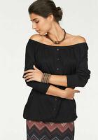 Boysen's Carmenshirt Off-Shoulder Damen Shirt Bluse Schwarz Gr. 32-38 *798539*