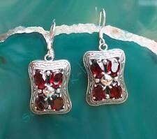 Ohrring im viktorianischen Stil Granat rot Stein des Januar Sterling Silber 925