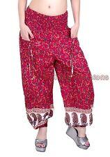 Women Printed Red Pockets Harem Pants Yoga Casual Dance Genie Trouser Hippie