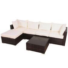 XL Polyrattan Garnitur Lounge Set Gartenmöbel Couch Sofa Rattan braun Garten Alu