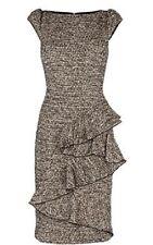 Karen Millen Tweed Business Frill Detail Dress UK 12