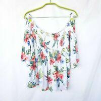 Hollister Off Shoulder Top L White Multicolored Flared 3/4 Sleeves Floral