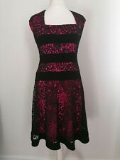 Joseph Ribkoff Dress UK 14 In Black & Pink Stretch Lace Overlay Bodycon Occasion