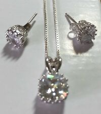Pendant Set real silver Necklace and earring set cubic zirconia