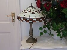 LARGE VINTAGE OLD TIFFANY STYLE TABLE LAMP 3D AMBER DESK LIGHT DECOR HEAVY