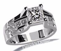 1.50CT G-COLOR Princess Cut Diamond Engagement Wedding Ring 14k White Gold PD85G