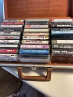 Huge Lot Of 28 Cassette Tapes Rock/Pop With Vintage Carrying Case  Mix lot