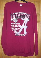 Gently Used 2012 Champions Alabama Crimson Tide T Shirt Size LARGE L Long Sleeve