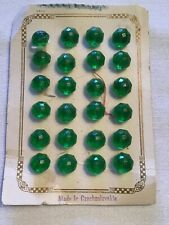 24 Vintage Green Glass Buttons, Made in Czechoslovakia, on Original Card