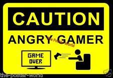 Cartel de imagen de imagen precaución Angry Jugador Pared Arte Impresión Nuevo Xbox Psp PS4