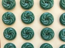 """Vintage Buttons - 24 Jade Green 2-hole Flat Back Pin Wheel 3/4"""" Casein - France"""