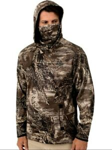 New Mens Realtree Edge Tech Hoodie Camo Hunting w/ Built-In Face Mask MAX-1XT