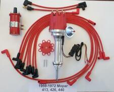 small cap 1959-72 MOPAR 413 426 440 HEI Distributor + Red 45k Coil + Plug Wires