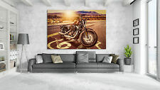 LEINWAND BILDER XXL HARLEY DAVIDSON Motorrad Deko Wandbild AMERIKA ROUTE 66