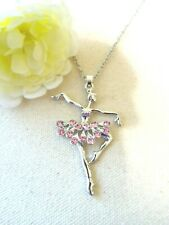Necklace Pendant Jewelry Silver Tone Ballerina US Seller NEW Goodtreasures123