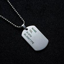 Collier Homme,Femme,Plaque Militaire,Armée,Acier,Tendance,Style,Mode,Army,Long60