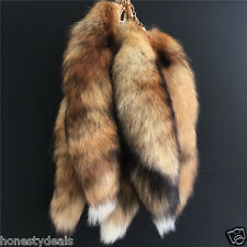 "16"" Brown-Black-White. Real Red Fox Tail Fur Leather Keychain Keyring bag Charm"