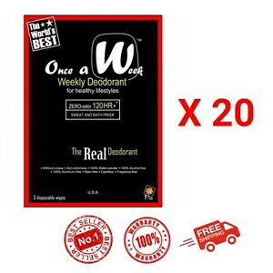 20 Pack (60Wipe) ONCE A WEEK Disposable Deodorant Heal Body Underarm Zero Odour