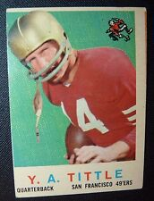 1959 Topps #130 Y A TITTLE San Francisco 49ers VG++ Crease Football Card Miscut