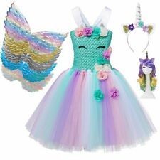 Unicorn Tutu Dress For Girls With Hairband And Wings Strap Closure Party Frock