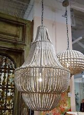 STUNNING CREATIVE COOP LARGE TALL WHITE WASHED BEADED WOOD 4 TIER CHANDELIER