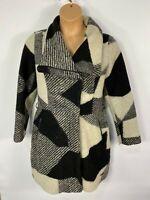 WOMENS DESIGUAL WHY? UK16 BLACK/WHITE PATTERNED ZIP UP WINTER WOOL COAT JACKET