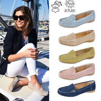 Ladies Women Leather Deck Casual Moccasins Loafers Slip On Shoes UK 3 4 5 6 7 8
