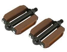 "NEW! Original Brown/Black Bicycle Block Pedals 1/2"" BMX Beach Cruiser Bike Pedal"