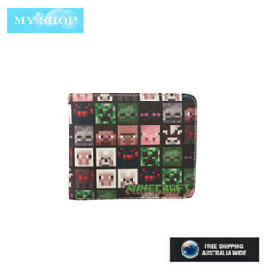 New Minecraft Faux Leather Wallet w/ Zipped Coin Section