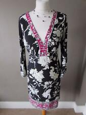 WALLIS Ladies Black White & Pink Floral Stretchy Tunic Dress Size 12 PETITE