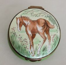 "Crummles & Co Enamels Young Paint Colt Horse Round Hinged Box 2 1/4"" England"