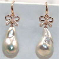 14-17mm White Baroque Pearl Earrings 18k hook Cultured Jewelry Natural Women