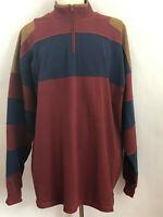 ORVIS XXLT Burgundy Blue Elbow Shoulder Patch Long Sleeve 14 Zip Shirt Sweater