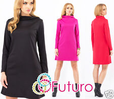 NEW Elegant Mini Dress with Collar Tunic Pockets Office Style Sizes S - XL FA337