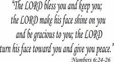 Numbers 6:24-26, Vinyl Wall Art, The Lord Bless and Keep You Make His Face Sh...