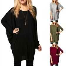 Oversized 8-26 Womens Batwing Dolman Cotton Mini Jumper Dress Casual Tops Blouse